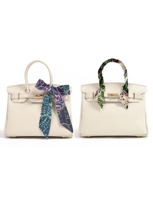 Two Bags with Silk Twilly Scarves