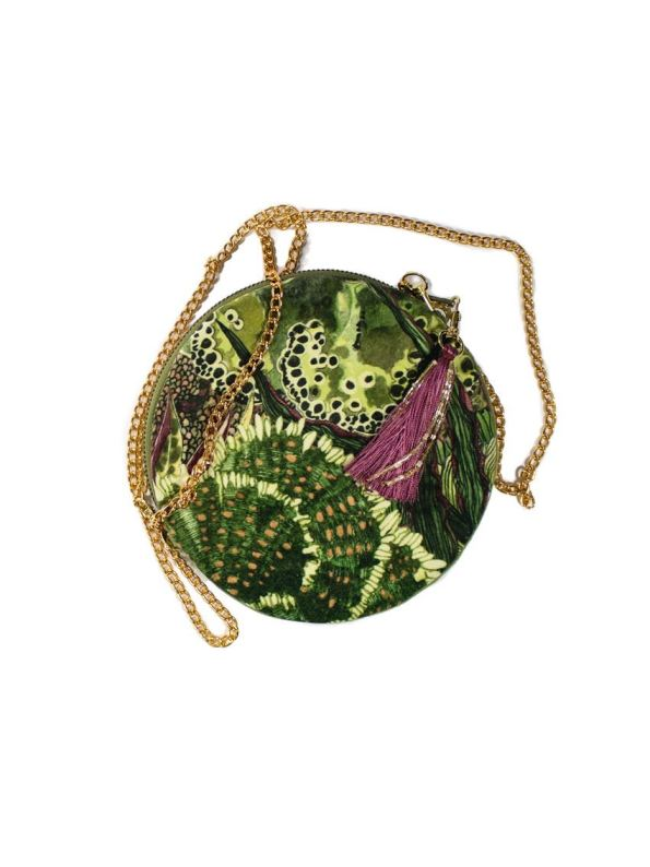 Wanderland Round Pouch Bag Moss with Strap and Tassel