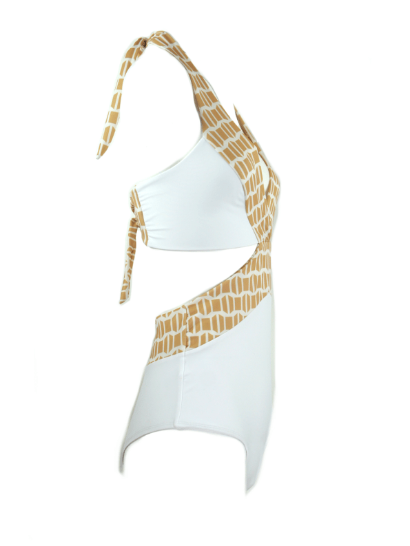 African Style Story Gisele Swimsuit White with Gold Doors Side