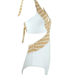 African Style Story Gisele Swimsuit White with Gold Doors