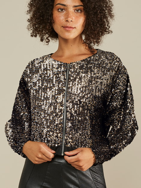 Mareth Colleen Blink Sequin Jacket Front