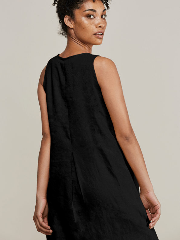 Mareth Colleen Camille Black Linen Dress Back Cropped