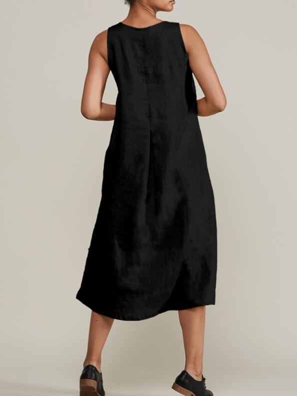 Mareth Colleen Camille Black Linen Dress Back