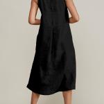 Mareth Colleen Camille Black Linen Dress