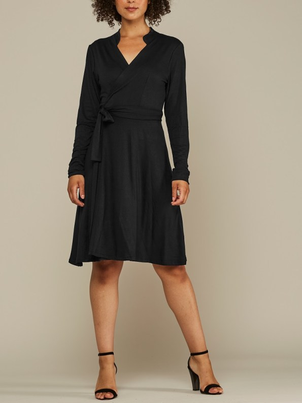Mareth Colleen Hentry Wrap Dress Black Front