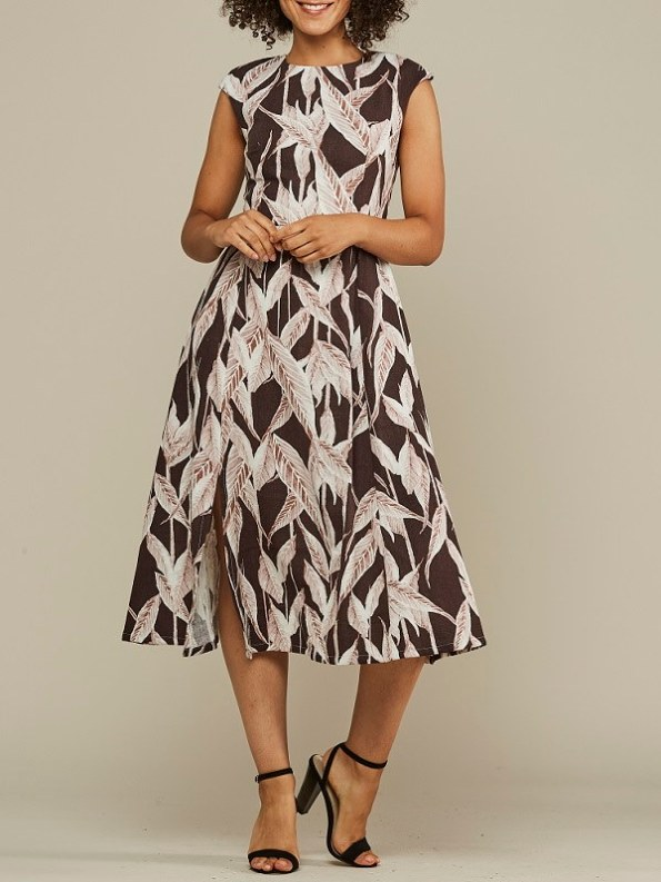 Mareth Colleen Jan Leaf Print Linen Dress Front 2