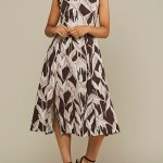 Mareth Colleen Jan Leaf Print Linen Dress