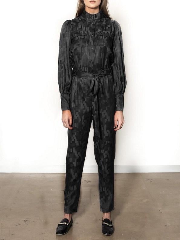 Smudj Aaron Utility Jumpsuit Black Camo Front