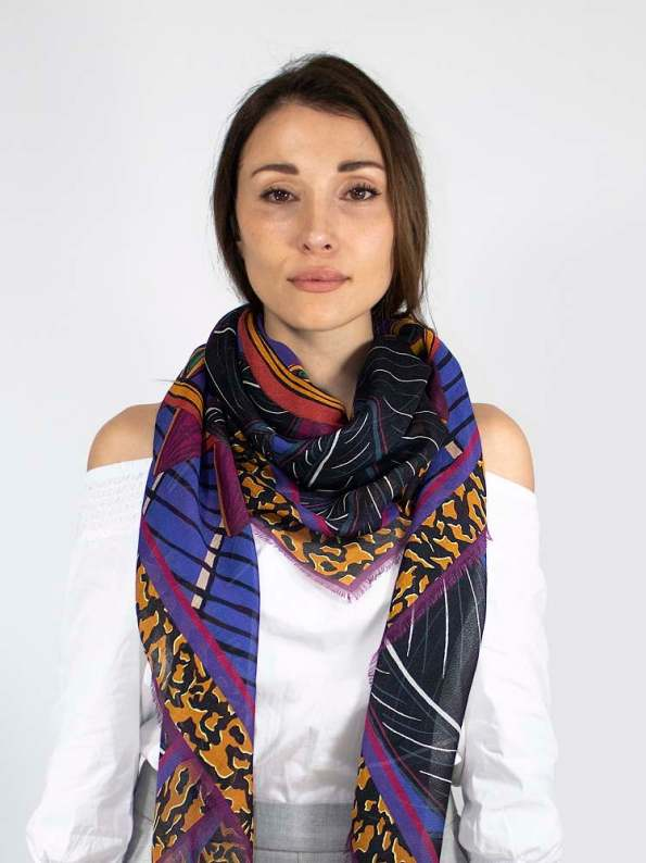 Wanderland Collective Zhi Zulu Matriarch Silk Scarf Styled Around Neck
