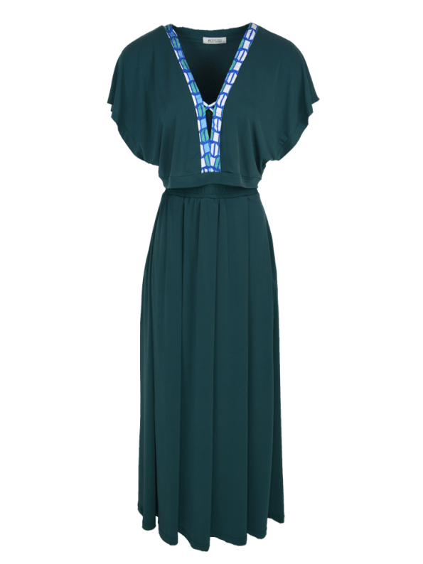 African Style Story Green 3-in-1 Dress Blue & Green Trim