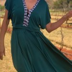 African Style Story Green 3-in-1 Dress Black & White Trim