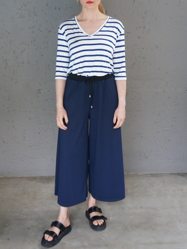 JMVB Athleisure Culottes Navy with Striped T-shirt