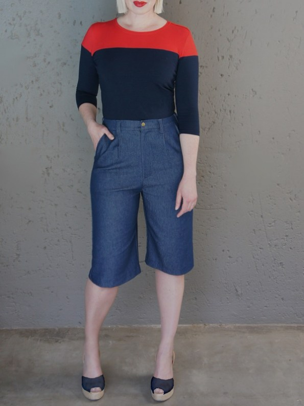JMVB Bermuda Shorts Denim with Colour Block Top