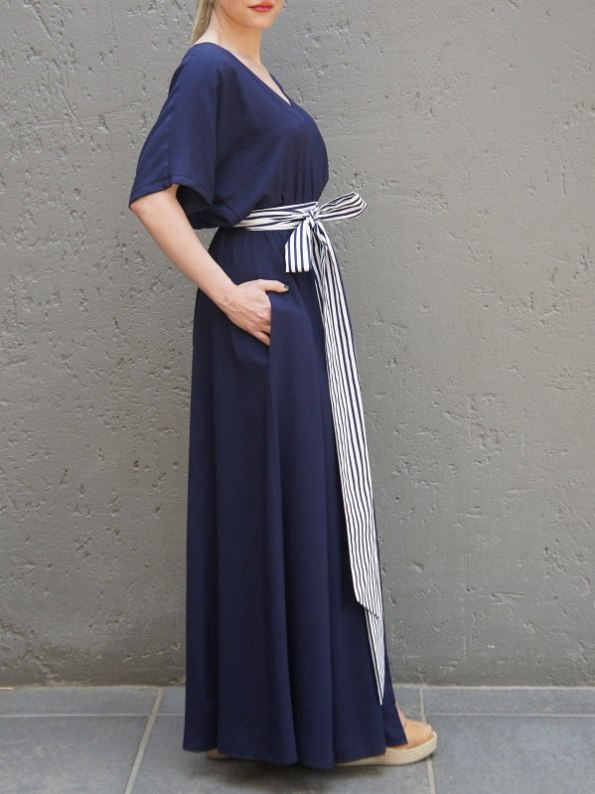 JMVB Bordeaux Maxi Dress Navy Belt Side