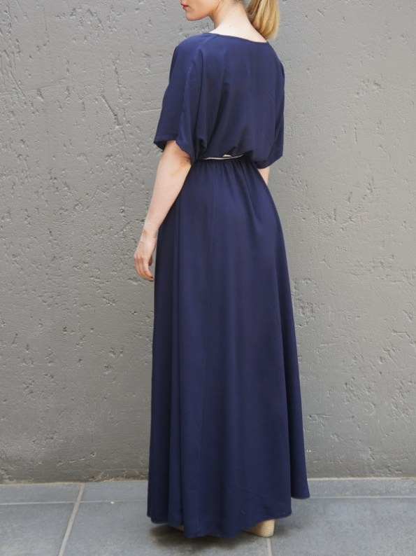 JMVB Bordeaux Maxi Dress Navy with Striped Belt Back
