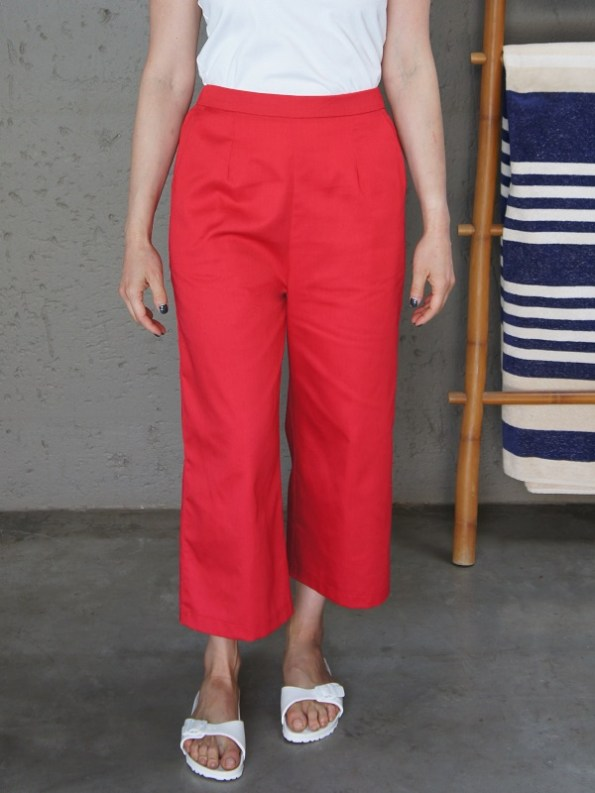 JMVB Cotton Twill Culottes Red Cropped