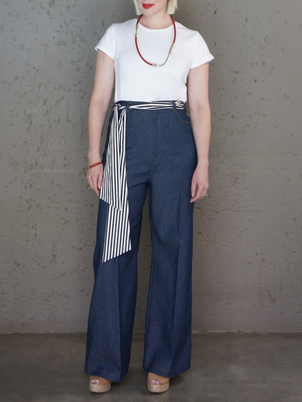 JMVB High Waisted Wide Leg Jeans with Jimmy D T-shirt White