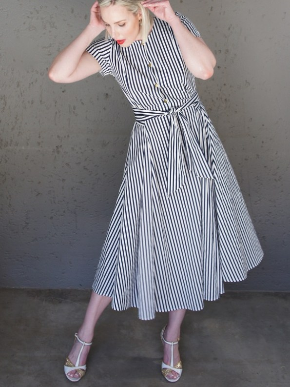 JMVB Navy White Striped Dress Front