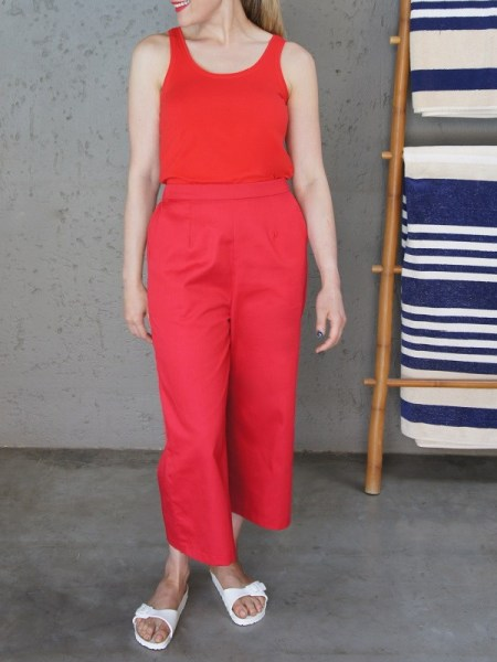 red tank top vest with red culottes South Africa
