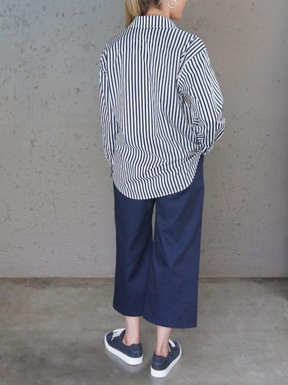 JMVB Striped Boyfriend Shirt Untucked Back