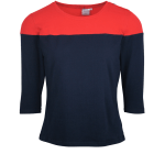 JMVB Three-quarter Sleeve Colour Block Top Navy and Red