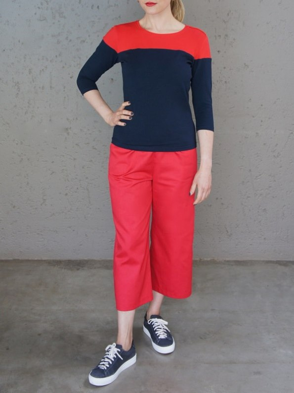 JMVB Three-quarter Sleeve Colour Block Top Navy and Red Front