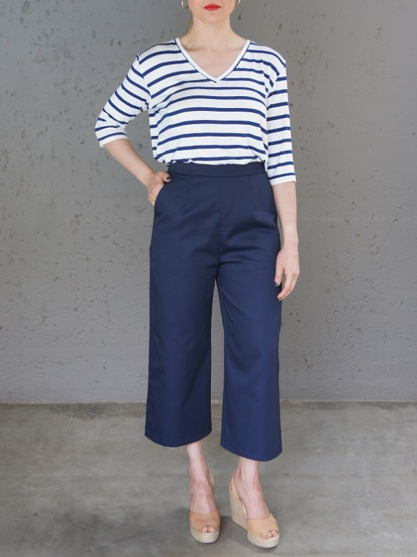JMVB V-neck Striped T-shirt and Navy Culottes Front
