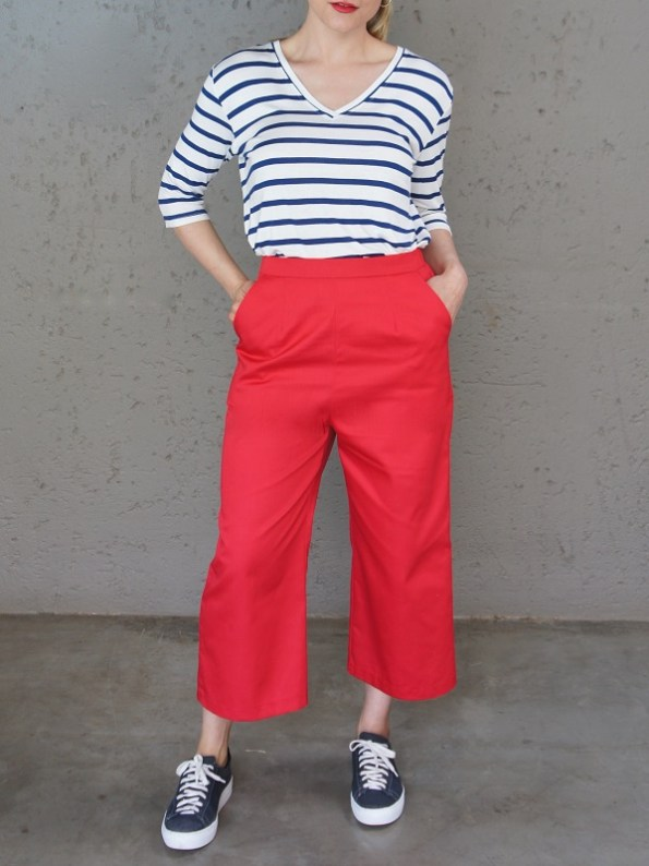 JMVB V-neck Striped T-shirt and Red Culottes Front