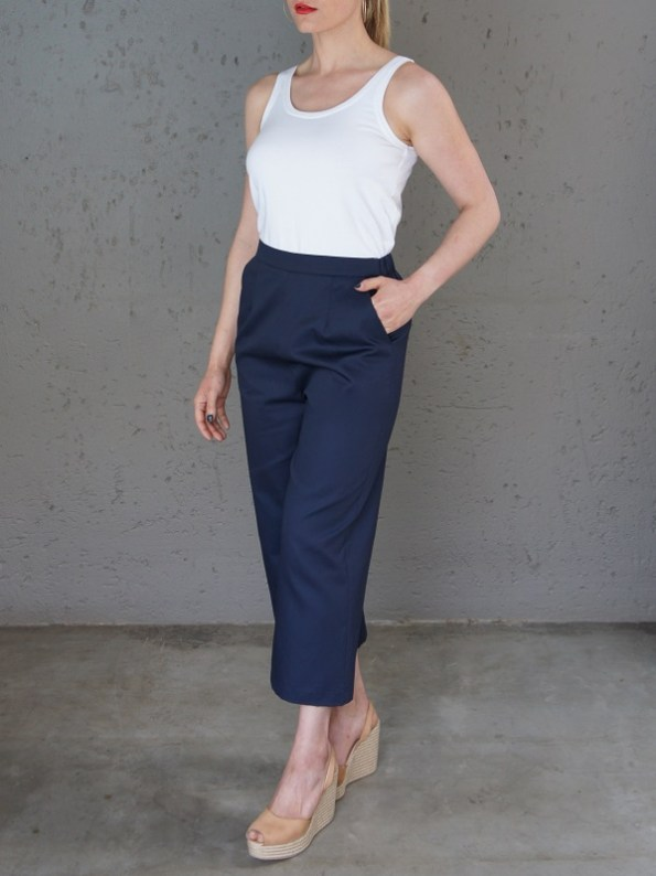 JMVB White Tank Top with Navy Culotte Side