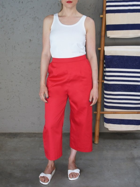 JMVB White Tank Top with Red Cotton Culotte Front