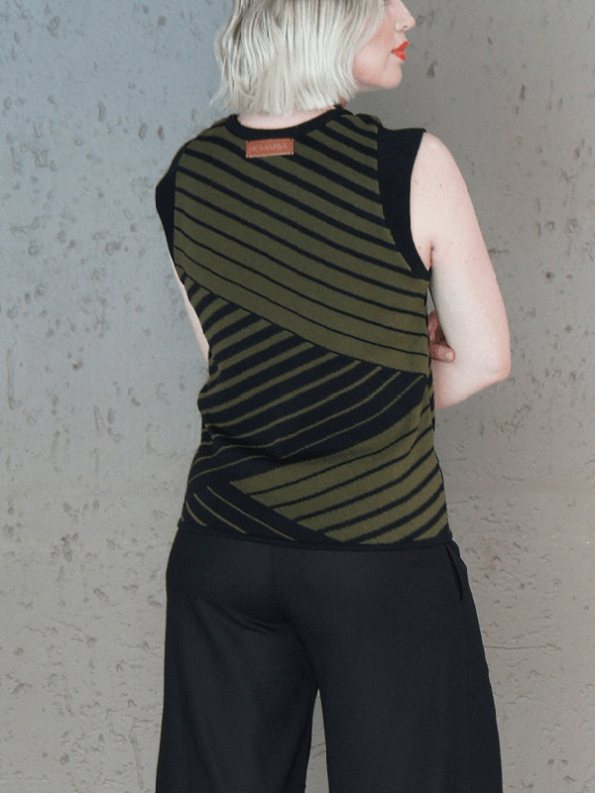 Romaria Olive Knitted Tank Top Back PNG