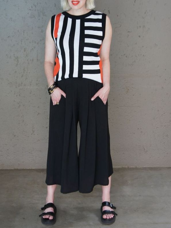 Romaria Pacgirl Sleeveless Top with Black Erre Culottes Front