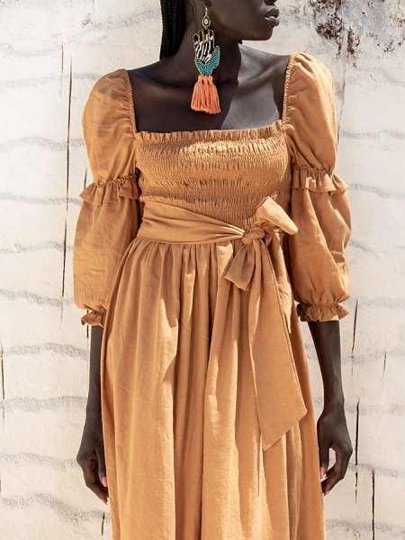Brown linen midi dress South Africa