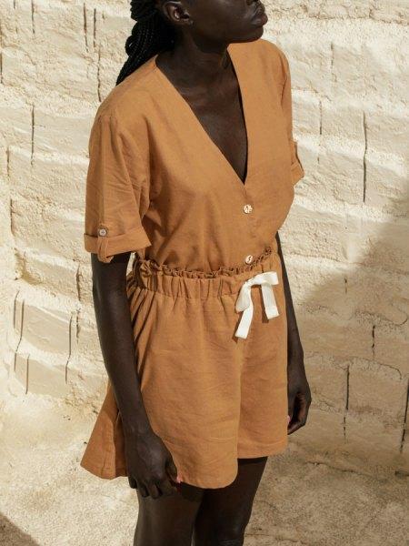 brown hemp blouse and hemp shorts South Africa