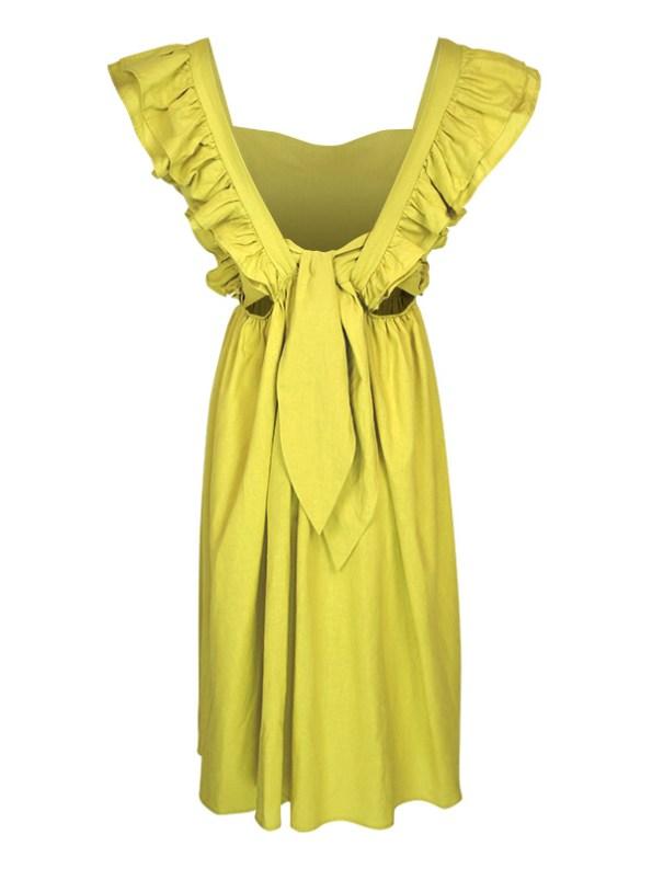 Asha Eleven Pambo Dress Limone Green Back