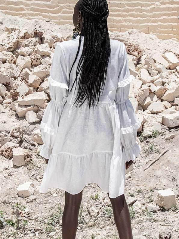 Asha Eleven Safi Dress White Linen Back