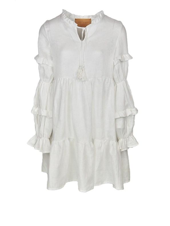 Asha Eleven White Linen Safi Dress
