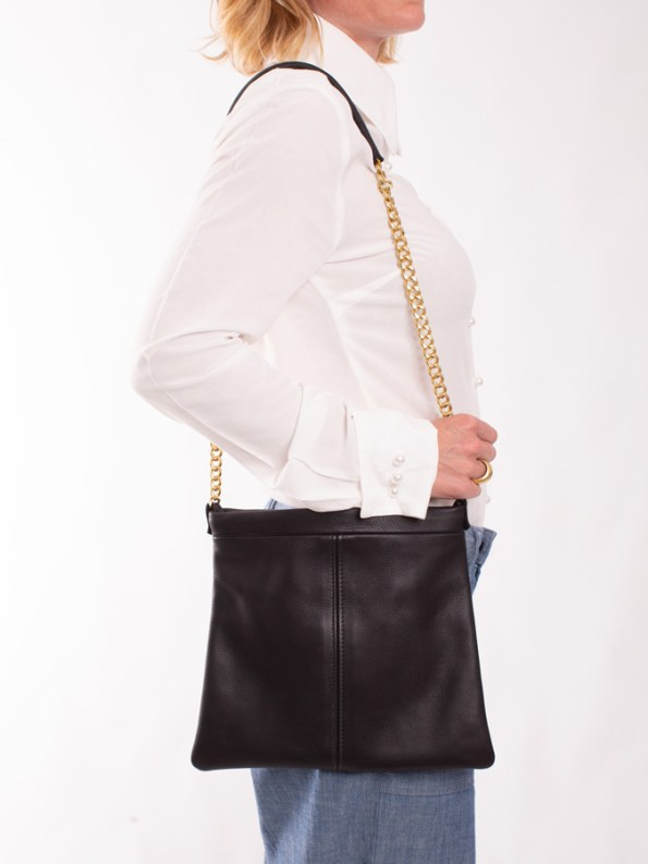 House of Cinnamon Jodine Shoulder Bag Black On Shoulder