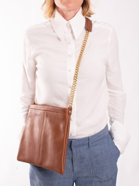tan leather shoulder bag with chain strap South Africa