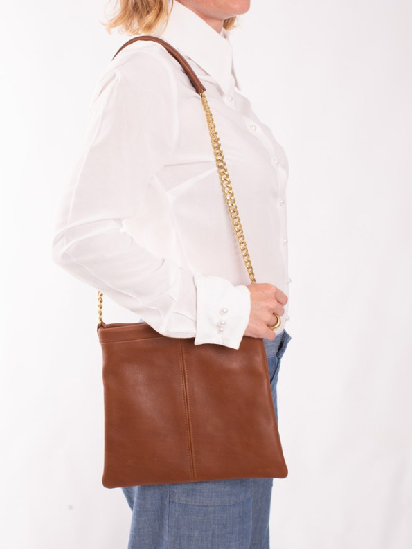 House of Cinnamon Jodine Shoulder Bag Tan On Shoulder