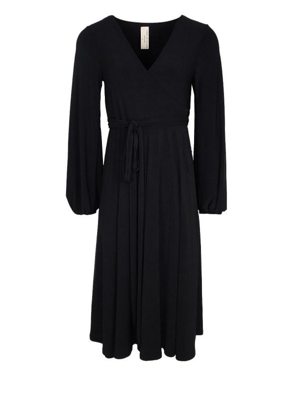 IDV Midi Wrap Dress Black_