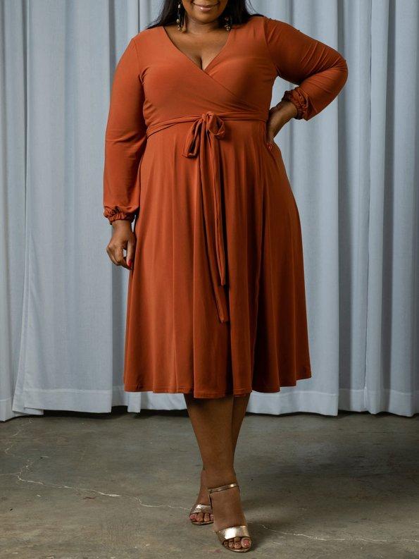 IDV Midi Wrap Dress Rust Front