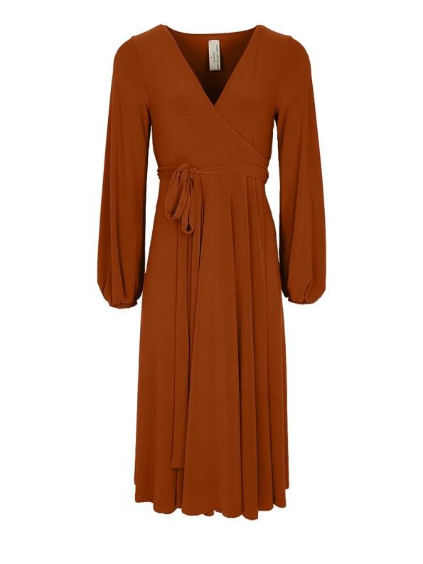 IDV Midi Wrap Dress Rust