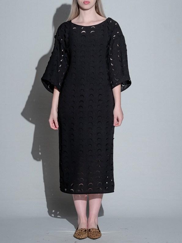 Isabel de Villiers Black Laser Cut Midi Dress