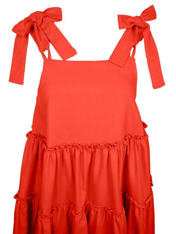 Isabel de Villiers Frill Maxi Dress, Orange Linen Blend Top