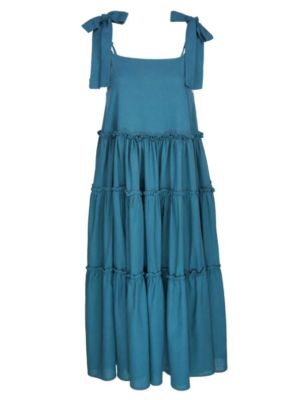 Isabel de Villiers Frill Maxi Dress, Teal Linen Blend