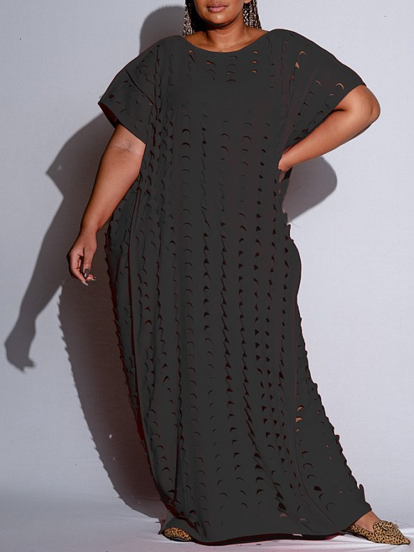 Isabel de Villiers Laser Cut Maxi Dress Black Front