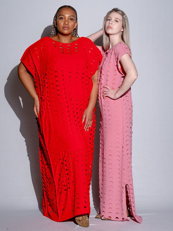 Isabel de Villiers Laser Cut Maxi Dress Pink Red