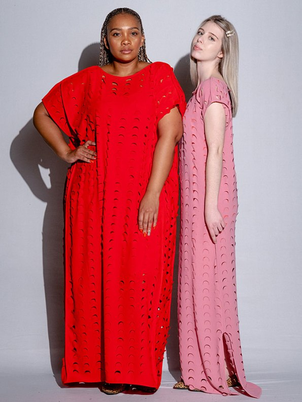 Isabel de Villiers Laser Cut Maxi Dress Pink and Red