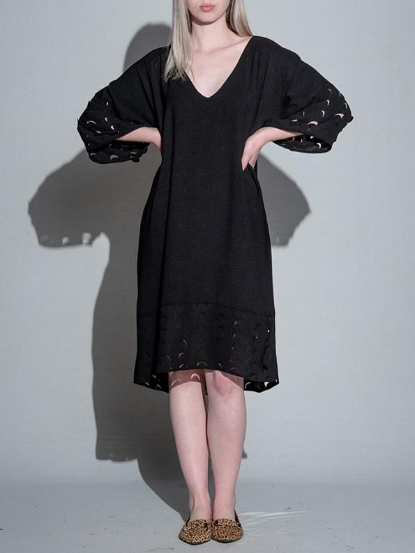 Isabel de Villiers Laser Cut Trim Dress Black Front